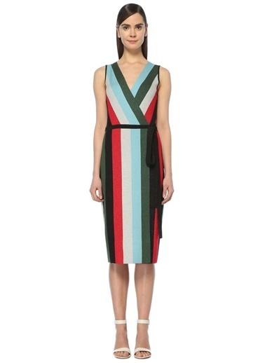 Diane Von Furstenberg Kolsuz Çizgili Anvelop Elbise Renkli